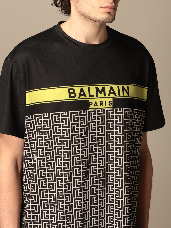 T-shirt Balmain: Balmain cotton T-shirt with all-over monogram logo black 5