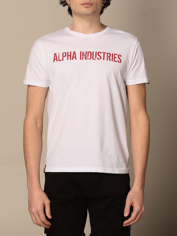 T-shirt Alpha Industries: T-shirt Alpha Industries in cotone con stampe bianco 1