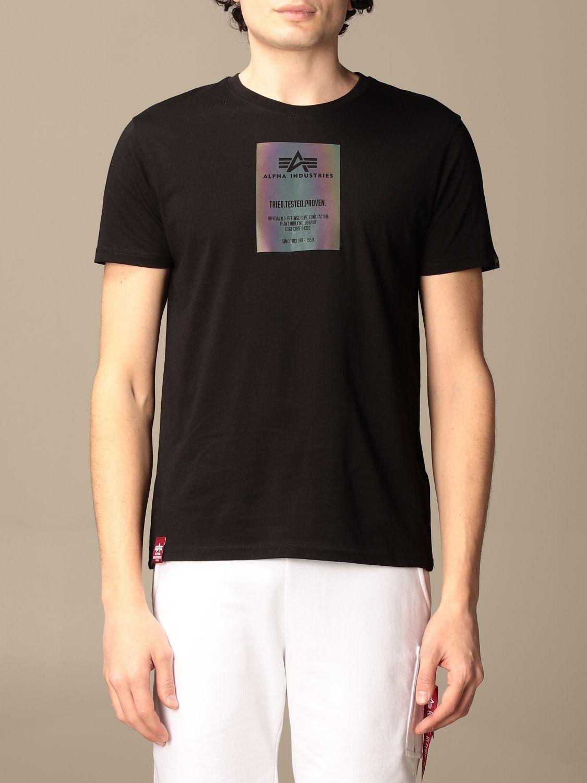T-shirt Alpha Industries: T-shirt Alpha Industries in cotone con logo nero 1
