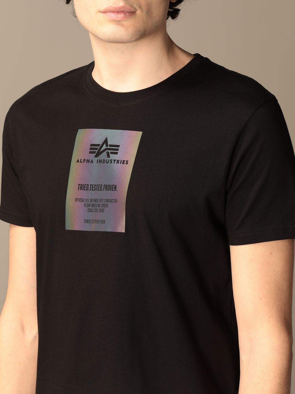 T-shirt Alpha Industries: T-shirt Alpha Industries in cotone con logo nero 3