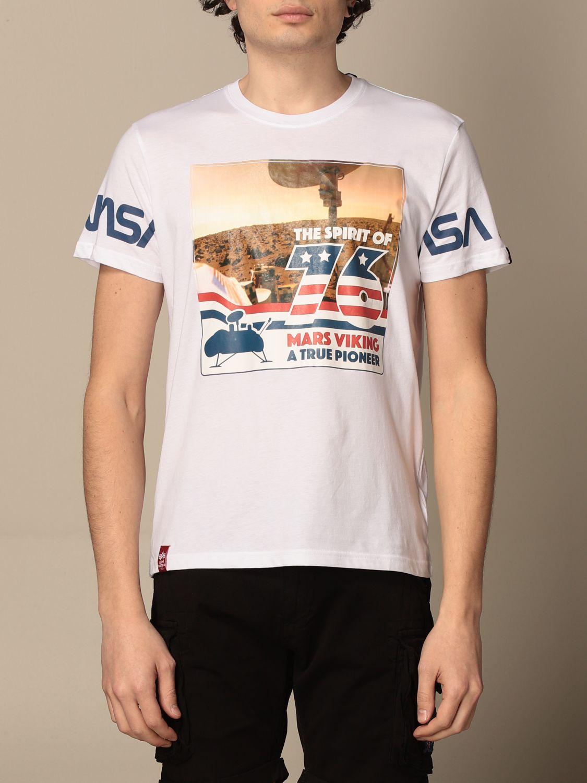T-shirt Alpha Industries: T-shirt Alpha Industries in cotone con stampa Nasa bianco 1