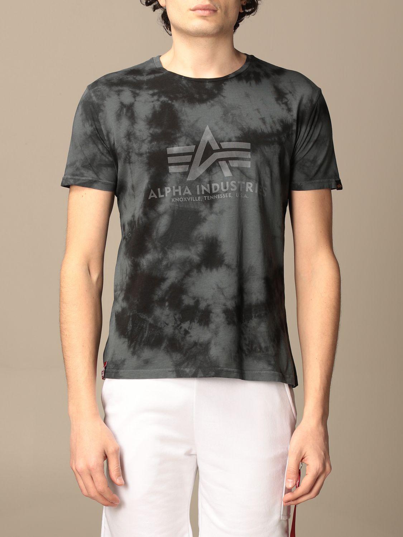T-shirt Alpha Industries: T-shirt Alpha Industries in cotone tie dye grigio 1