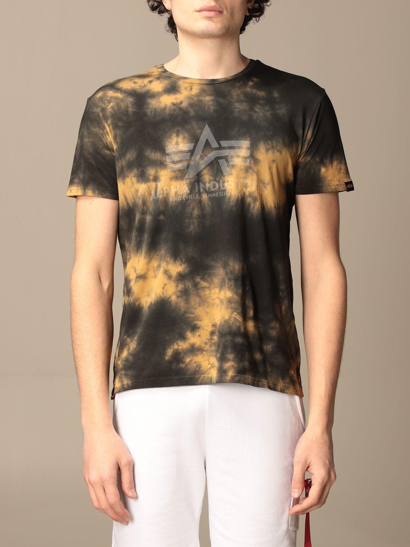 T-shirt Alpha Industries: Alpha Industries t-shirt in tie dye cotton brown 1