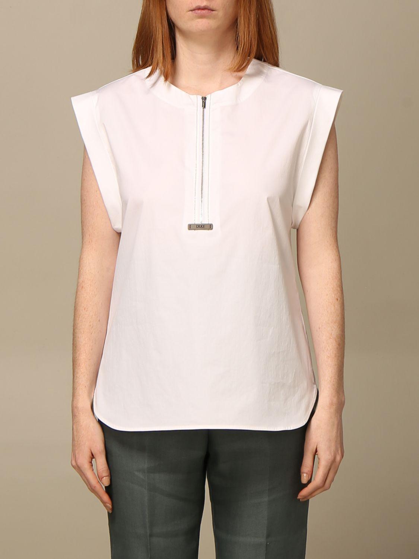 T-shirt Peserico: Camicia con zip Peserico in cotone bianco 1