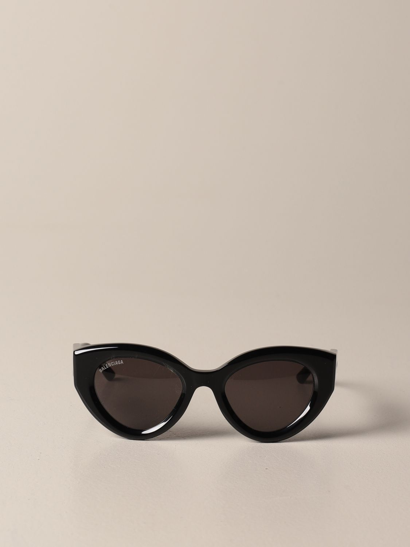 Occhiali Balenciaga: Occhiali da sole Balenciaga in acetato con logo nero 2