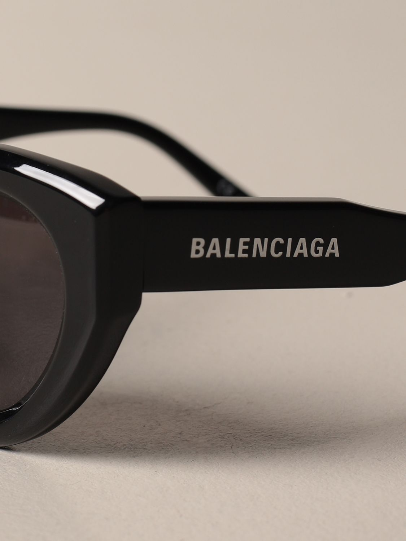 Occhiali Balenciaga: Occhiali da sole Balenciaga in acetato con logo nero 4