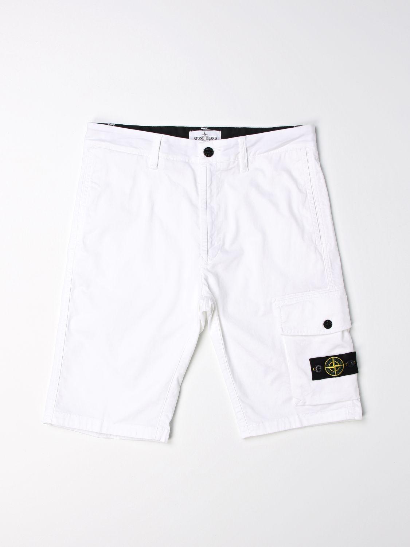 Pantaloncino Stone Island Junior: Pantaloncino Stone Island Junior con logo bianco 1