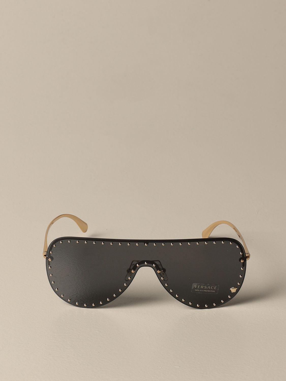 Glasses Versace: Versace sunglasses in metal with micro studs black 2