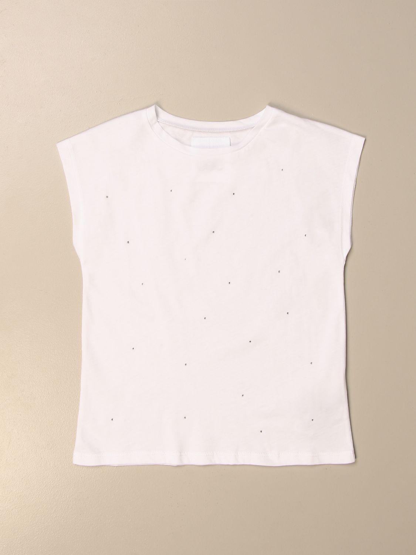VEST Douuod: Basic Douuod T-shirt with micro rhinestones white 1