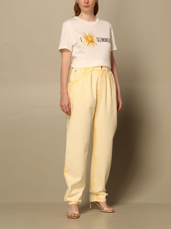 Jeans Alberta Ferretti: Pantalon femme Alberta Ferretti jaune 2