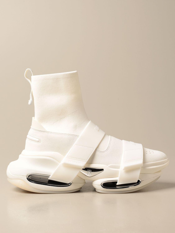Sneakers Balmain: B-Bold Balmain sneakers in knit and suede with logo kaki 1