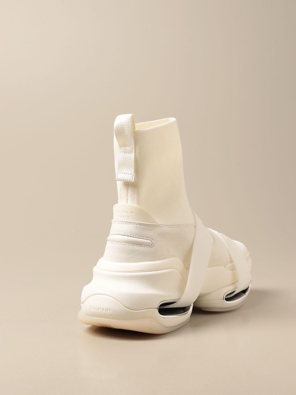 Sneakers Balmain: B-Bold Balmain sneakers in knit and suede with logo kaki 3