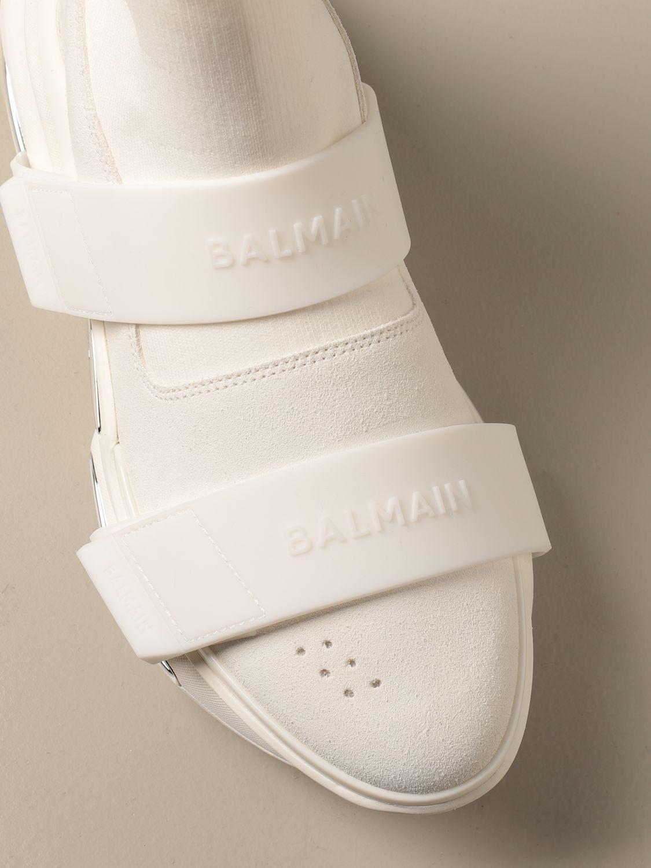 Sneakers Balmain: B-Bold Balmain sneakers in knit and suede with logo kaki 4