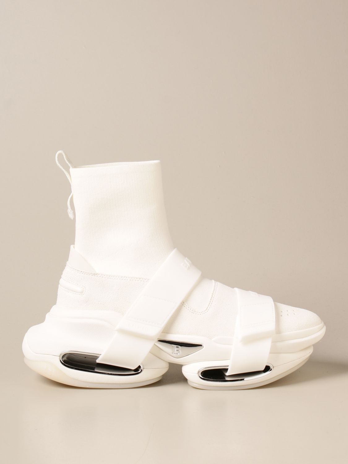 Trainers Balmain: B-Bold Balmain sneakers in knit and suede with logo white 1