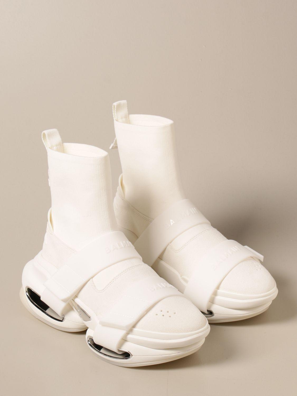 Sneakers Balmain: Sneakers B-Bold Balmain in maglia e camoscio con logo bianco 2