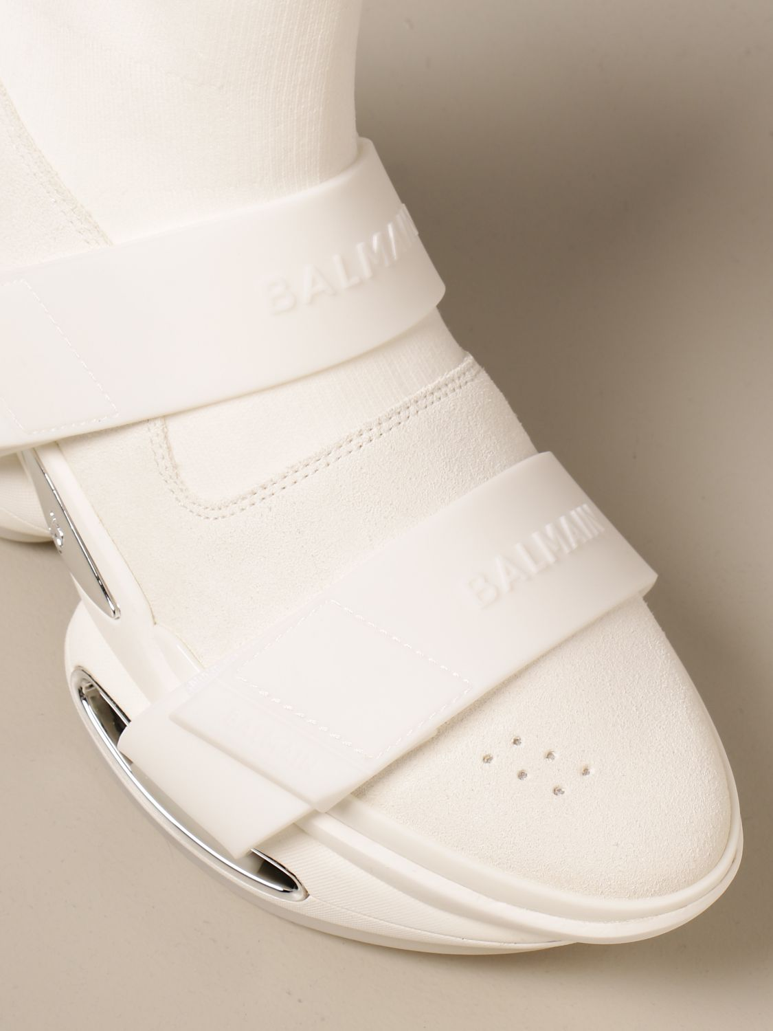 Trainers Balmain: B-Bold Balmain sneakers in knit and suede with logo white 4
