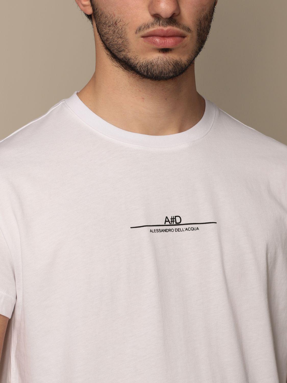 T-shirt Alessandro Dell'acqua: Alessandro Dell'acqua t-shirt in cotton with logo white 3