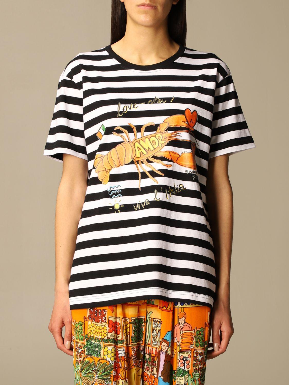 T-shirt Alessandro Enriquez: T-shirt Alessandro Enriquez a righe con stampa fantasia 1