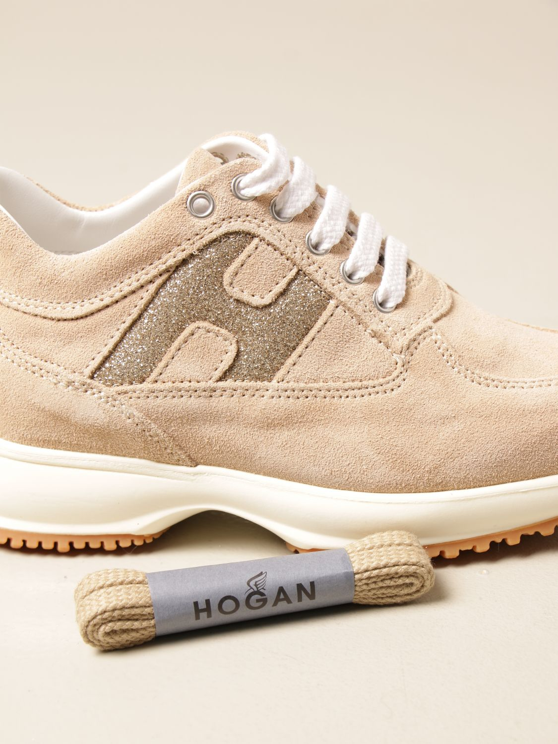 Interactive Hogan sneakers in suede with glitter H