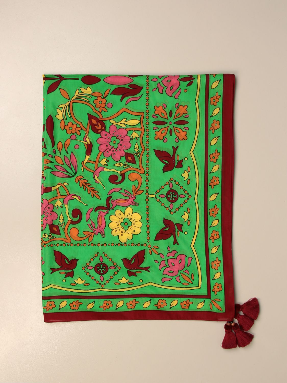 Neck scarf Tory Burch: Tory Burch patterned scarf with tassels green 1
