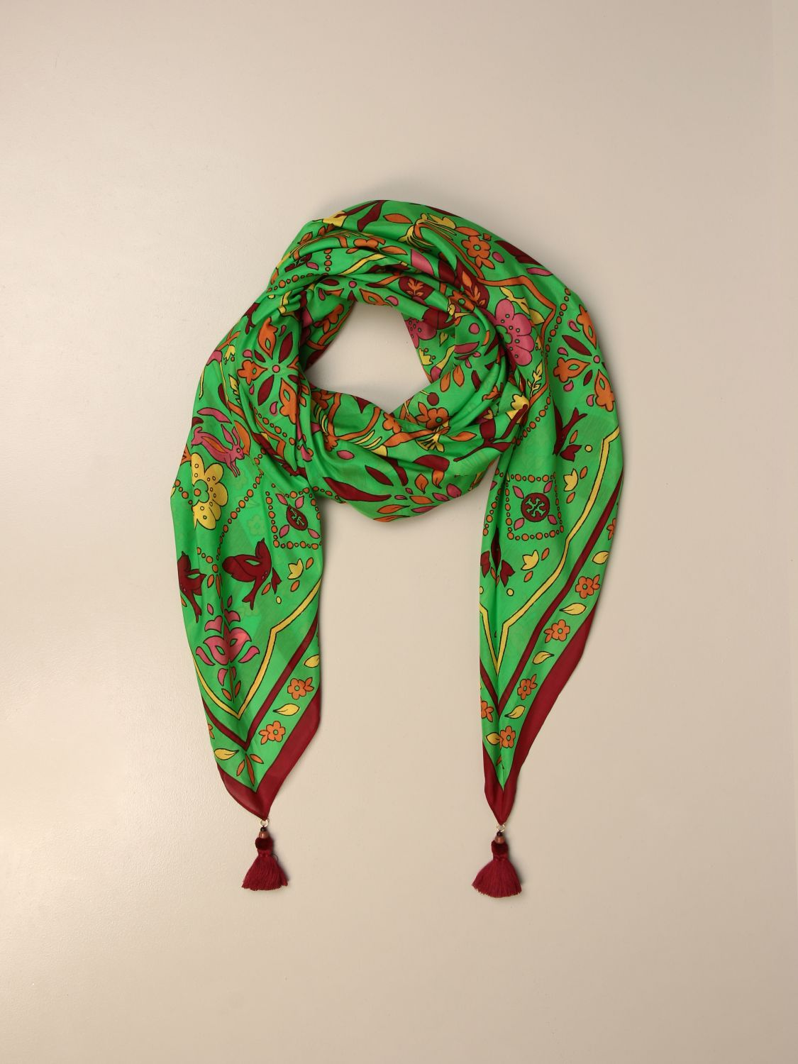 Neck scarf Tory Burch: Tory Burch patterned scarf with tassels green 2
