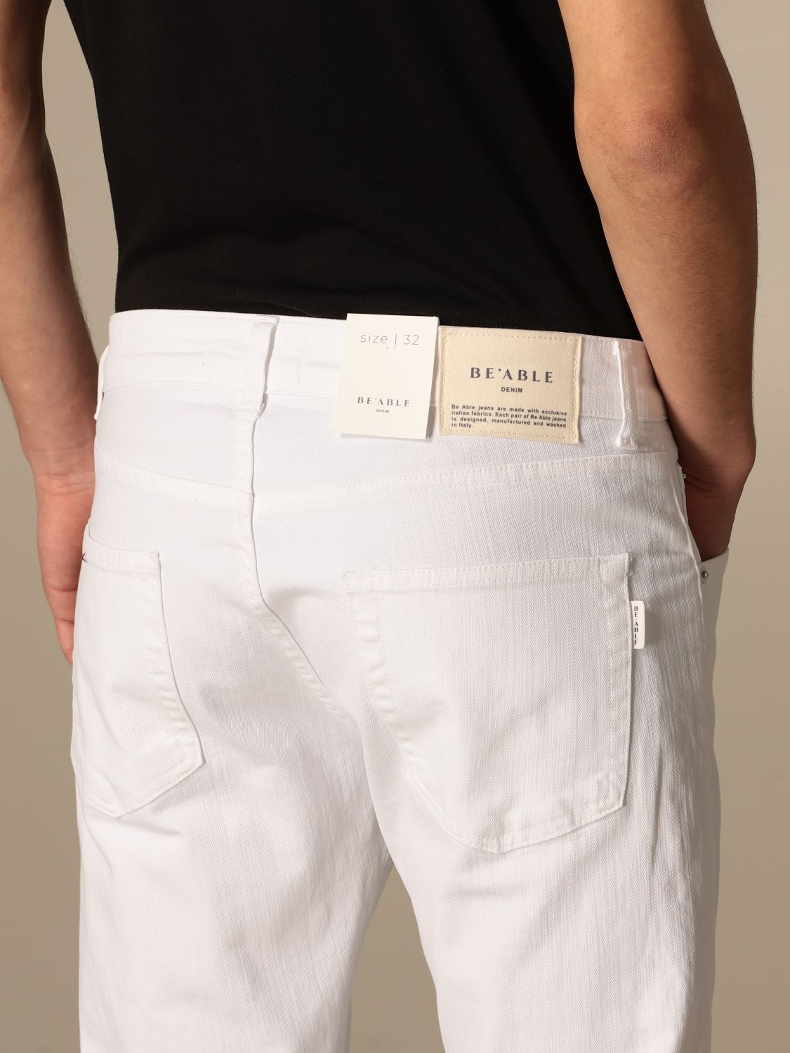 Pantalone Be Able: Pantalone a 5 tasche Be Able in cotone stretch bianco 4