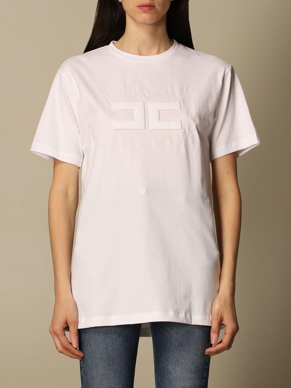 T-shirt Elisabetta Franchi: T-shirt Elisabetta Franchi in jersey di cotone con logo bianco 1