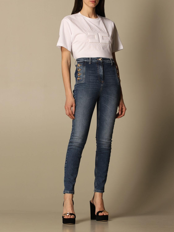 T-shirt Elisabetta Franchi: T-shirt Elisabetta Franchi in jersey di cotone con logo bianco 2