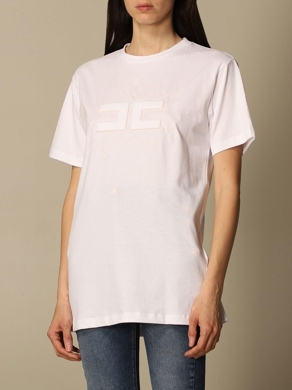 T-shirt Elisabetta Franchi: T-shirt Elisabetta Franchi in jersey di cotone con logo bianco 4