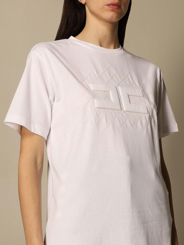 T-shirt Elisabetta Franchi: T-shirt Elisabetta Franchi in jersey di cotone con logo bianco 5