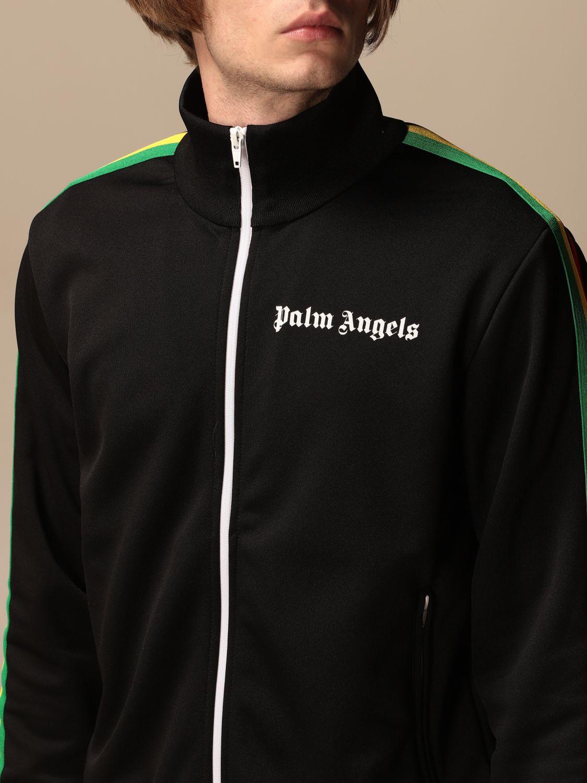 Felpa Palm Angels: Felpa con zip Palm Angels con logo nero 5