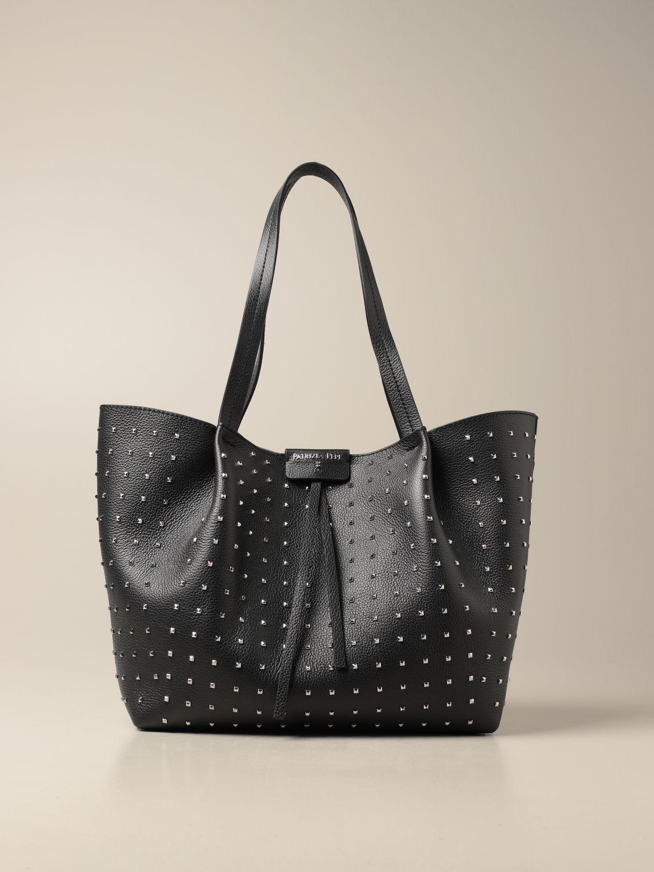 Tote bags Patrizia Pepe: Patrizia Pepe shopping bag in perforated leather black 1