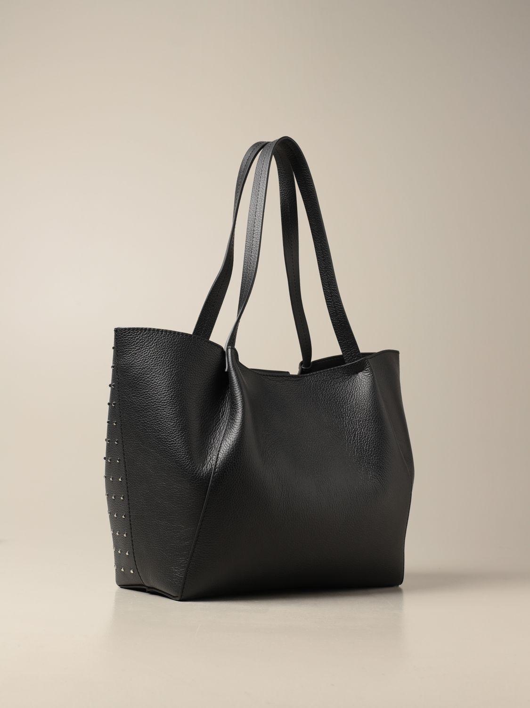 Tote bags Patrizia Pepe: Patrizia Pepe shopping bag in perforated leather black 2