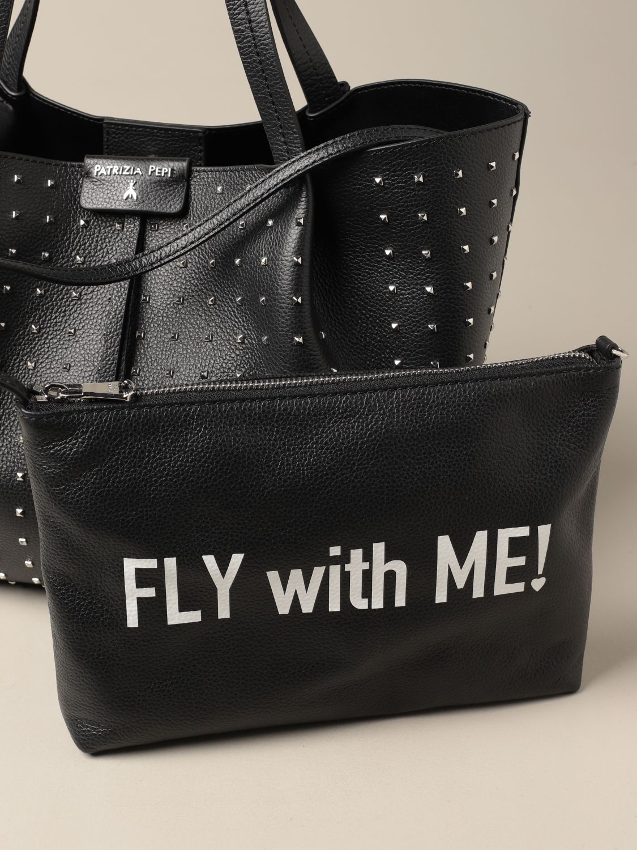 Tote bags Patrizia Pepe: Patrizia Pepe shopping bag in perforated leather black 3