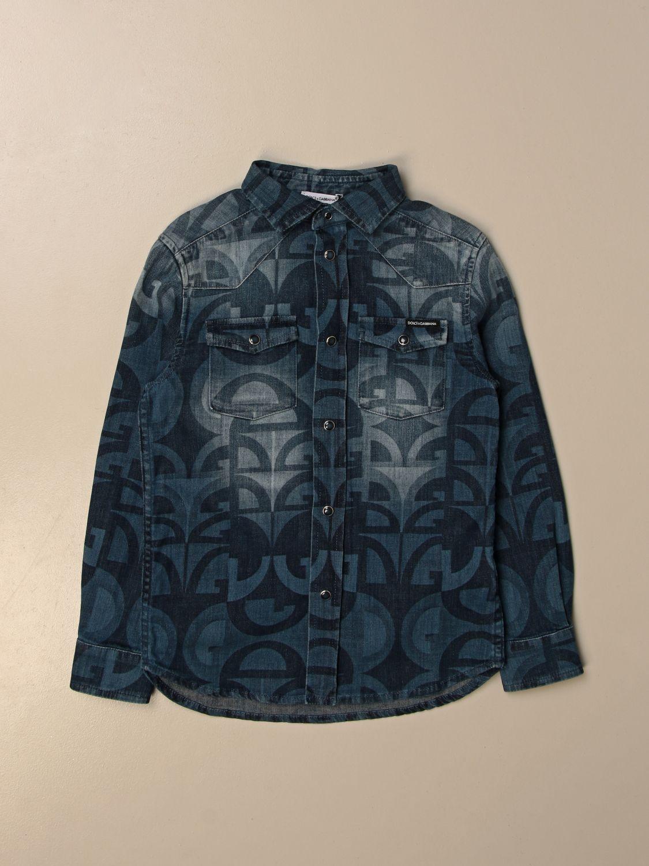 Shirt Dolce & Gabbana: Dolce & Gabbana denim shirt with all over logo multicolor 1