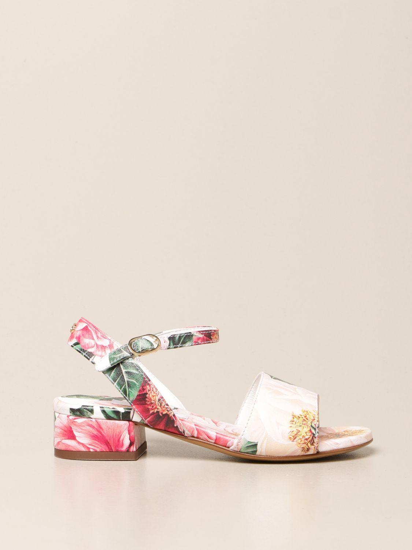 Shoes Dolce & Gabbana: Dolce & Gabbana floral patterned sandals pink 1