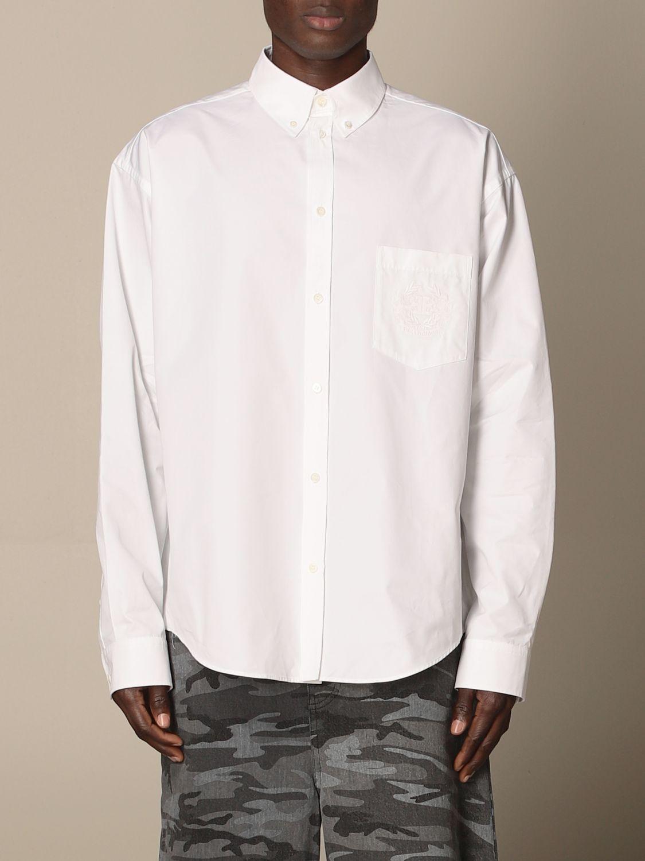 Shirt Balenciaga: Balenciaga poplin shirt with embroidered logo white 1