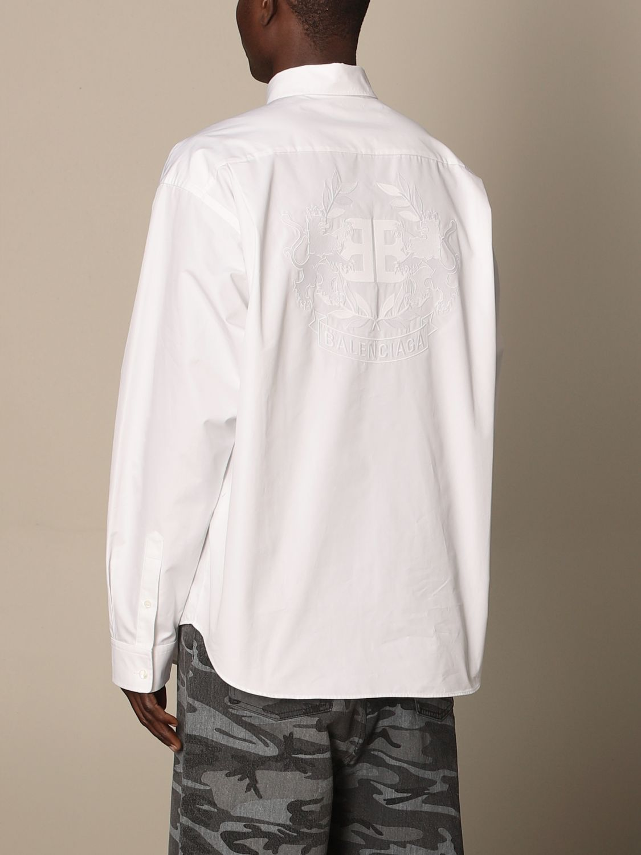 Shirt Balenciaga: Balenciaga poplin shirt with embroidered logo white 2