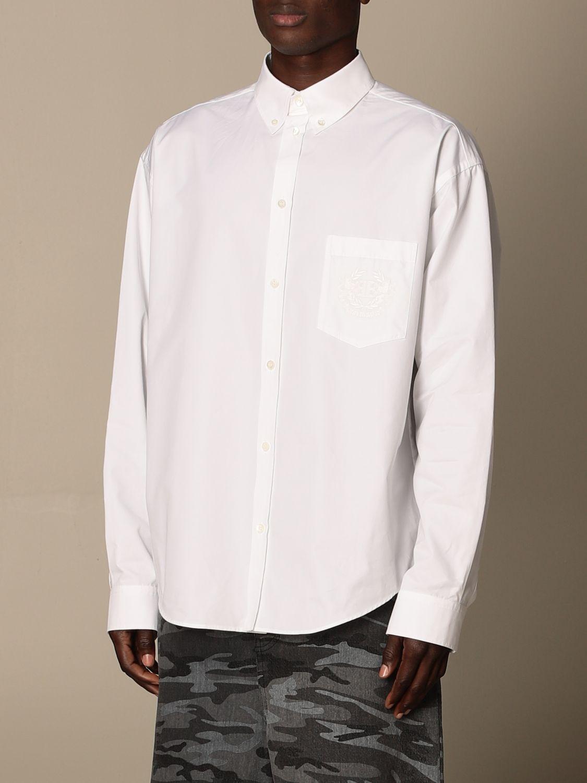 Shirt Balenciaga: Balenciaga poplin shirt with embroidered logo white 3