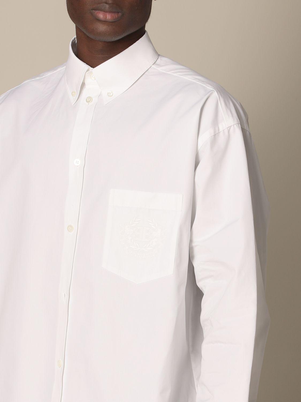 Shirt Balenciaga: Balenciaga poplin shirt with embroidered logo white 4