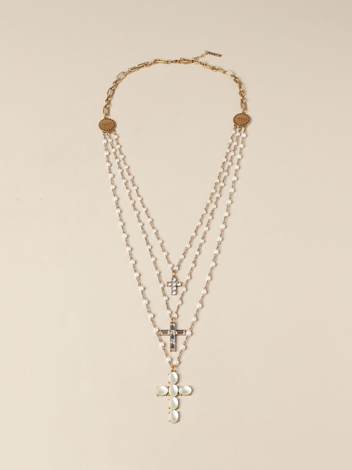 Jewel Twin Set: Twin Set necklace with pearls and rhinestones gold 1
