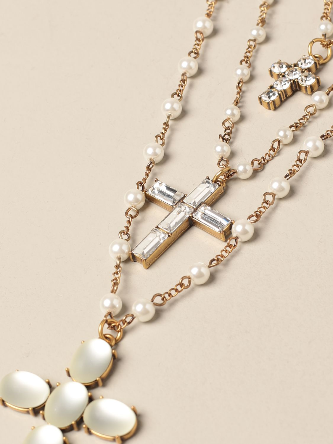 Jewel Twin Set: Twin Set necklace with pearls and rhinestones gold 2