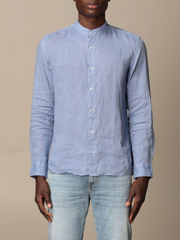 Camicia Altea: Camicia alla coreana Altea in lino azzurro 1