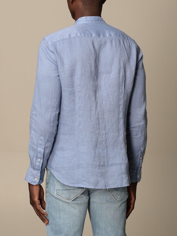 Camicia Altea: Camicia alla coreana Altea in lino azzurro 2