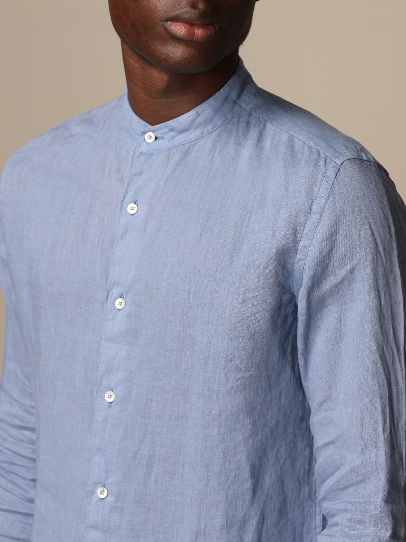 Camicia Altea: Camicia alla coreana Altea in lino azzurro 3