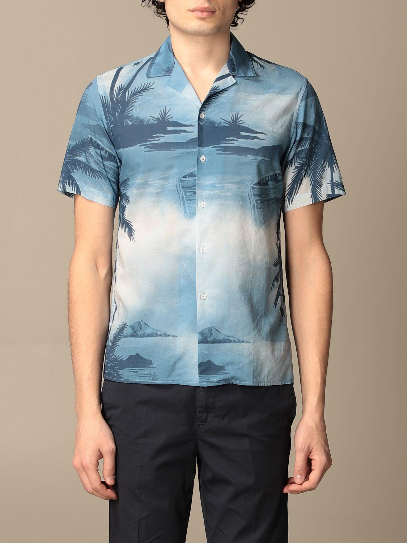 Camicia Altea: Camicia Altea in cotone a fantasia azzurro 1