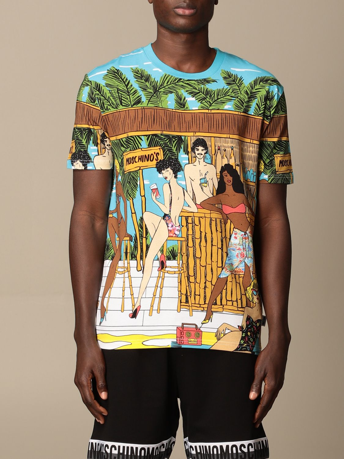 T-shirt Boutique Moschino: Moschino Boutique T-shirt in printed cotton gnawed blue 1