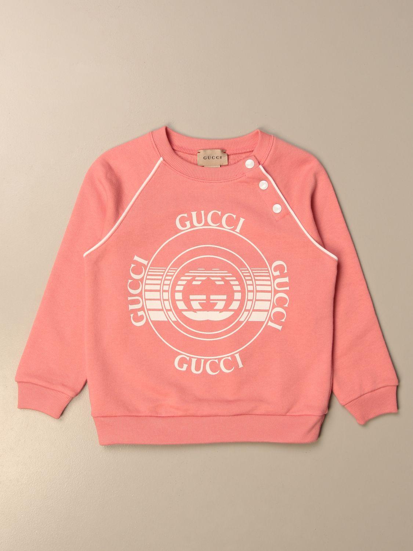 Maglia Gucci: Felpa a girocollo Gucci in cotone con logo salmone 1