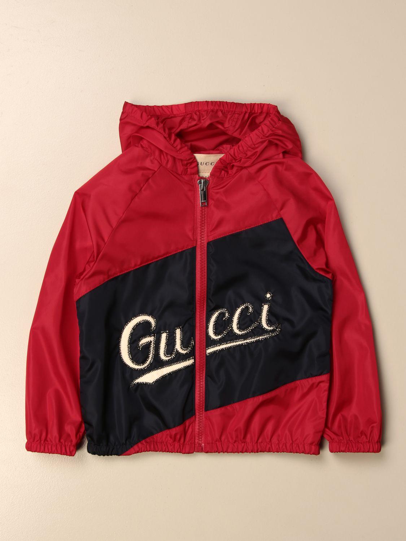 Giacca Gucci: Giacca di nylon Gucci con logo rosso 1