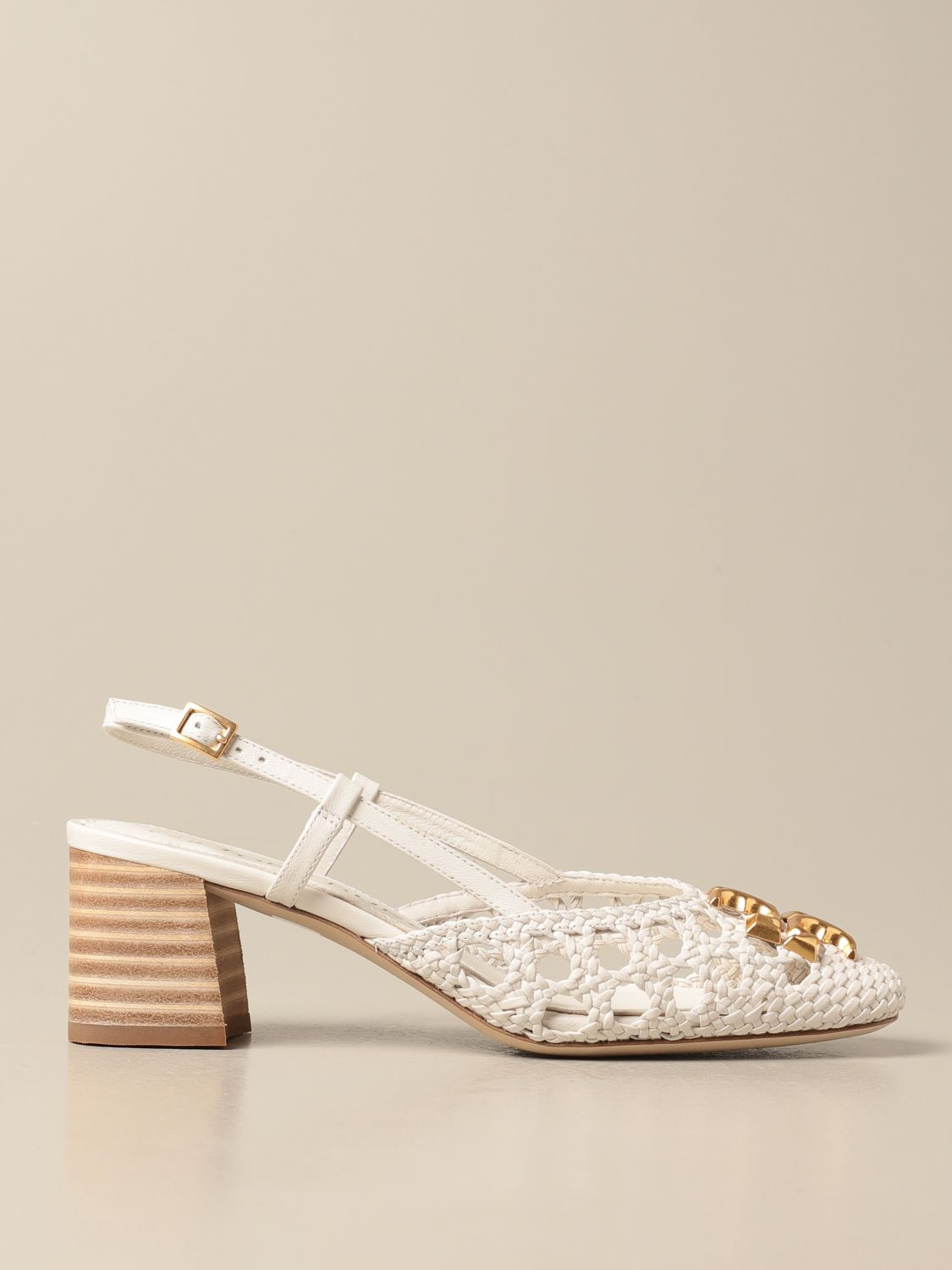 Pumps Tory Burch: Tory Burch slingback in woven leather with logo ivory 1